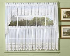 """Diana Kitchen Lace Curtain Tier Pair 70"""" x 36"""" Long - White"""
