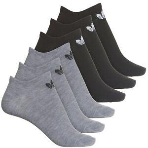 6 Pair Adidas Ankle No Show Socks, Women's Shoe Size 5-10, Black, Gray L24 MP