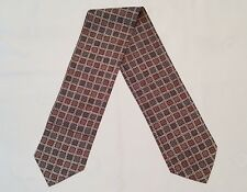 VINTAGE AUTHENTIC PLAID BROWN BLUE RED SILK DOUBLE LONG SKINNY MEN'S SCARF