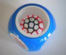 """Blue OVERLAY FACETED Murano Art Glass Paperweight Floating Millefiori 3"""""""