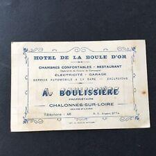 Carton Publicitaire HÔTEL Boule D'Or Boulissière Chalonnes sur Loire 1929
