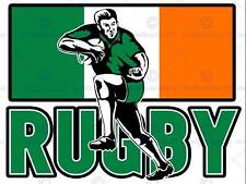PAINTING SPORT IRELAND RUGBY FOOTBALL FLAG IRISH PLAYER POSTER PRINT BMP11201