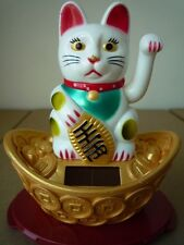 Feng Shui Waving Beckoning Cat Color Solar Power Welcome Luck Fortune Prosperity