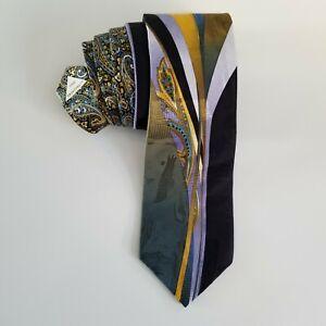 VITALIANO PANCALDI Italy 100% Silk Tie Multicolor Gold Art Deco Abstract Necktie