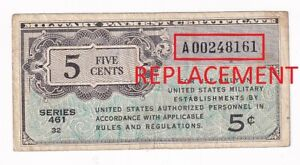 USA MILITARY PAYMENT CERTIFICATE 5 CENTS 1946 REPLACEMENT SERIES 461 P# M1 VF