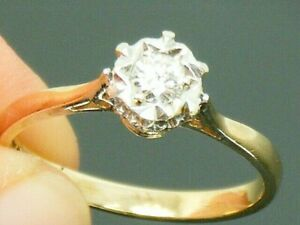 9ct Gold 0.20ct Diamond Solitaire Hallmarked Ring size N
