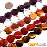 """Assorted Natural Stones 16mm Twist Coin Button Beads For Jewelry Making 15"""""""