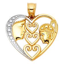 Boy Girl Face Milgrain Charm Pendant 14k Yellow White Gold Plain Love Heart