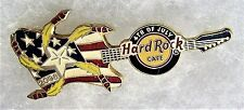 HARD ROCK CAFE ONLINE 4TH OF JULY USA FLAG GUITAR WITH ROCKETS & STAR PIN