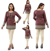 UK STOCK - Women Fashion Indian Short Kurti Tunic Kurta Top Shirt Dress 56C