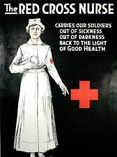 Stampa poster vintage pubblicità PRONTO SOCCORSO CROCE ROSSA INFERMIERA soldati carità nofl1421
