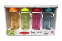Rubbermaid 4 Pack 20-Ounce Hydration Bottles, Assorted Colors