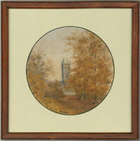 J.B.A - Framed 1879 Watercolour, Autumn Church Scene