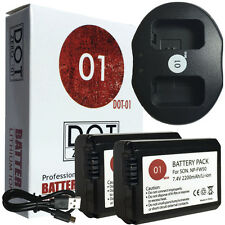 2x DOT-01 Batteries + USB Charger for Sony FW50 Battery + USB Ch for NP-FW50