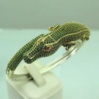 Turkish Handmade Jewelry 925 Sterling Silver Emerald Stone Women Bangle