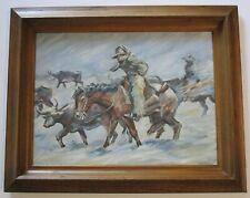 VINTAGE OIL PAINTING ON BOARD SOUTHWEST COWBOY HORSE RIDER EQUINE IMPRESSIONIST