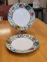 """Habitat Americana Fitz and Floyd Country Cupboard 10.75"""" Dinner Plates Set of 2"""
