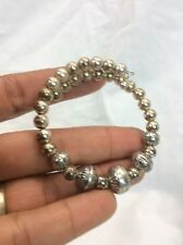 Beautiful Southwestern sterling Silver 925 Stamp Beads Coil Bracelet