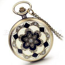 Vintage Flower Pattern Digital Dial Pocket Watch Quartz Pendant Necklace Chain