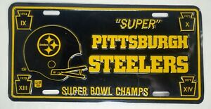 "Vintage ""Super"" Pittsburgh Steelers Super Bowl Champs Metal License Plate"