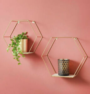 Set of 2 Gold Wire Metal Hexagonal Floating Wall Shelves - Home Decor - Display