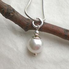 MUSCHELKERN Anhänger Perle weiß 925 Silber Perlenanhänger schlicht pur f305