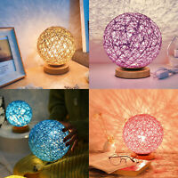 Rattan Night Light Romantic Warm Table Desk Bedside LED Lamp Starry Home Decor