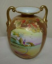 """Nippon Porcelain 5"""" Vase Hand-painted Double Handle Gold Moriage Stamped"""