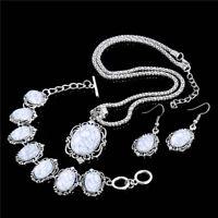 Elegant Women Turquoise Jewelry Set Silver Bib Necklace+Drop Earrings+Bracelet