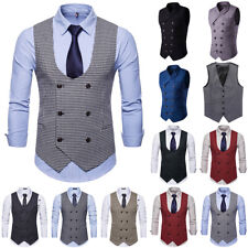 Men Business Waistcoat Jacket Formal Wedding Party Double Breasted Vest Coat Top