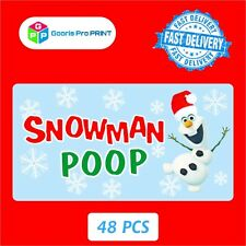 48x Christmas SNOWMAN POOP Sticker Business Xmas Label Fun seal gift tag   X50