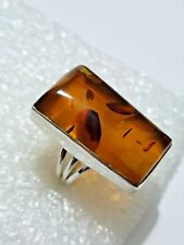 Substantial Baltic Amber Ring BIG & LONG Ring 925 Solid Silver Size P1/2~Q