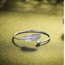 Cuff Bangle Bracelet Feather And Ball Design Antique Silver Plated Women Gift