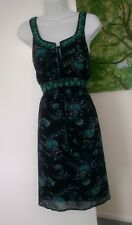 Monsoon Beaded Occasion Dress UK 14 Black Blue Multi Lined Wedding Guest Cruise