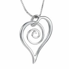 Exquisite Chic Silver Plated Love Heart Spiral Pendant Chain Necklace Women Men