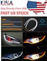 US 60CM LED White Car DRL Daytime Running Lamp Strip Light Flexible Soft Tube