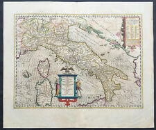1639 Hondius Large Original Antique Map of Italy, Sicily, Sardinia & Corsica