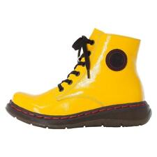Ladies Rieker Boots Yellow Patent Chunky Military Style