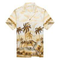 Made in Hawaii Men Hawaiian Aloha Shirt Luau Cruise Party Palms Edge Yellow