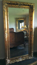 CHATEAU ANTIQUE AGED GOLD ORNATE LARGE FRENCH BEVELLED WOOD MIRROR 5FT x 4FT