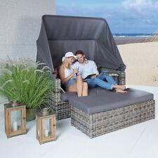 Strandlounge Sevilla vintage braun Lounge Sonnenliege Polyrattan Strandkorb