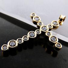 FSA621 GENUINE REAL 18CT YELLOW G/F GOLD LADIES DIAMOND SIMULATED CROSS PENDANT
