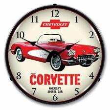1959 Chevrolet Corvette LED Clock Garage Oil Car Man Cave Lighted Nostalgic