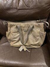 Authentic Coach Diaper Bag Patent Leather Gray Signature Euc
