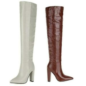 Occident Women's Slouch Pointy Toe Over Knee High Boots Block Heel Shoes 34/43 L