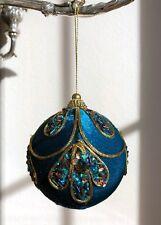 SET OF 2 VELVET Embroidered Christmas Tree Ornament Bead Ball Blue Gold Glitter