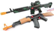 2x Toy Guns Friction M-16 Toy Rifle & Friction AK-47 Toy Machine Gun Set