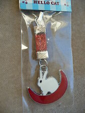 WHITE RABBIT ON CRESCENT MOON MOBILE PHONE/PURSE CHARM BRAND NEW