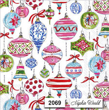 (2069) TWO Individual Paper LUNCHEON Decoupage Napkins - CHRISTMAS ORNAMENTS