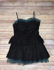 Women's Black & Teal Lace Tulle Corset Top Steampunk Dress XXI Size Medium B